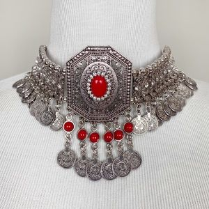 Jewelry - Under The Sun Necklace Boho Statement Red